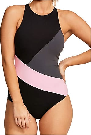 Figleaves Womens Freestyle High Neck Swimsuit Size 8 in Black/Steel/Pink