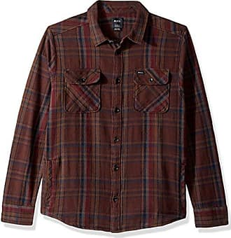Rvca Mens Camino Flannel Long Sleeve Woven Shirt, Dark Chocolate, Large
