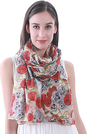 Lina & Lily Skull Rose Print Womens Scarf Shawl Wrap (Beige)