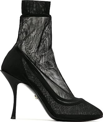 Dolce & Gabbana Bota tule com stretch salto alto fino - Preto