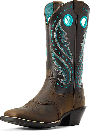 Ariat Womens Round Up Melrose Western Boots in Distressed Brown Leather, B Medium Width, Size 3, by Ariat