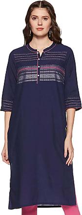 Aurelia Womens Cotton Straight Kurta (19FEA10491-700023_ Blue_ Medium)