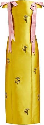 Erdem Angelique Beaded Mikado Midi Dress - Womens - Yellow