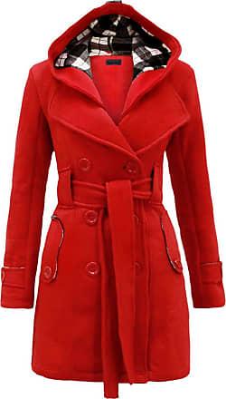Noroze Womens Long Sleeve Belted Button Fleece Coat (XL(14), Red)