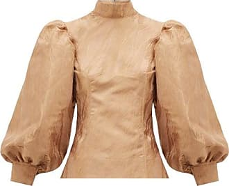 Ganni Balloon-sleeved Jacquard Top - Womens - Beige