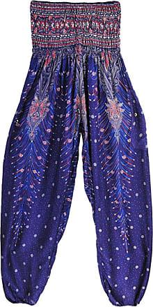 junkai Unisex Yoga Boho Hippy Pants Thai Peacock Print Floral Pattern Harem Trousers Smock High Waist Bloomers