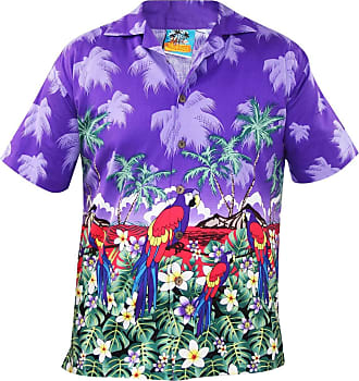 True Face Mens Hawaiian Shirt Short Sleeve Tops Parrot