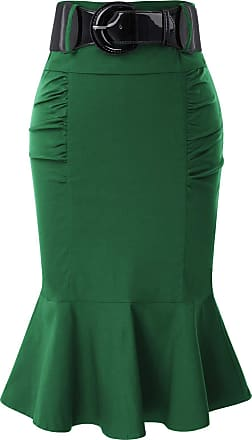 Belle Poque Solid Color Knee-Length Hips-Wrapped Bodyon Skirts for Women Party Dark Green(627-5) Medium