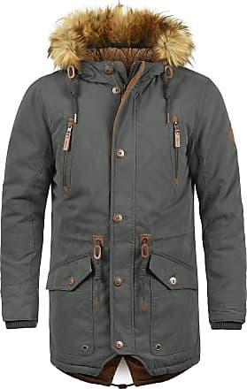 Solid Vidage Mens Parka Outdoor Jacket Winter Coat with Teddy Fleece and Fur Hood with Hood, Size:M, Colour:Dark Grey (2890)