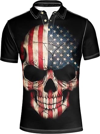 Hugs Idea Classic Mens Golf Polos Shirts American Flag Skull T-Shirt Summer Short Sleeves Sport Tees