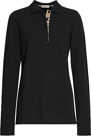 dfe54a5502c Burberry Long-sleeve Check Placket Cotton Piqué Polo Shirt - Black