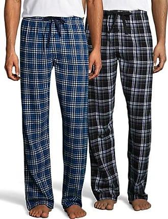 Hanes Mens Flannel Pant 2-Pack Blue/Black Pack 2XL
