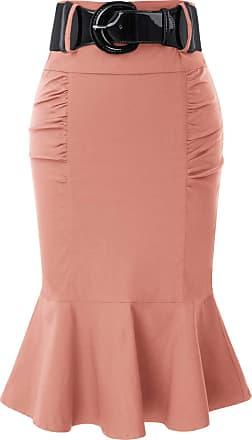 Belle Poque Fifties Style Retro Formal Business Fishtail Elegant Pencil Skirts for Women Juniors Bean Paste(627-10) Medium