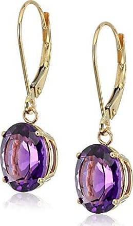 Amazon Collection 14K Gold Oval Gemstone Dangle Leverback Earrings