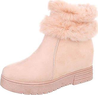 74d779f5aa3e68 Ital-Design Keilstiefeletten Damen-Schuhe Keilstiefeletten Keilabsatz Wedge Warm  Gefütterte Reißverschluss Stiefeletten Pink