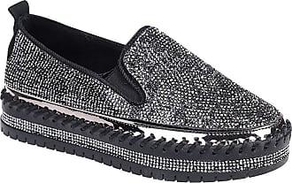 Daytwork Women Platform Shoes - Round Toe Loafer Flats Rhinestones Glitter Comfort Casual Moccasins Dress Shoes Black