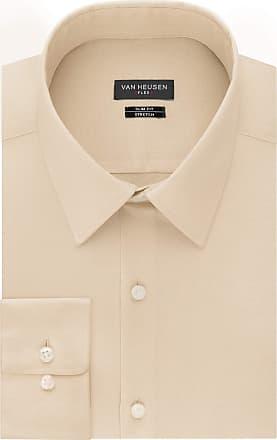 Van Heusen Mens Flex Collar Slim Fit Stretch Dress Shirt, Jute, 17 Neck 32-33 Sleeve