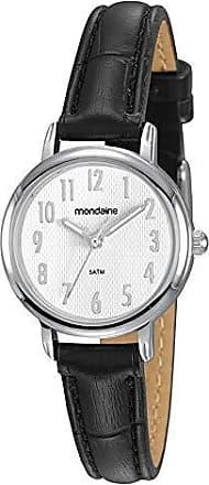 Mondaine Relógio Feminino Pequeno Prata Todos os Números Couro Preto
