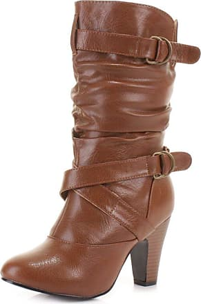 Truffle Sh12-25 Ladies Boots Mid Calf Tan Beige Cuban Heel Buckles[Ladies UK 4 / EU 37]