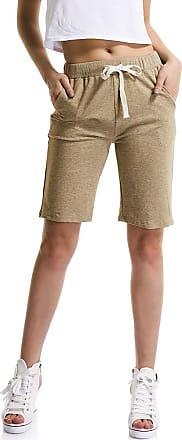 OCHENTA Womens Soft Knit Elastic Waist Jersey Shorts with Drawstring Khaki UK 10-12 - Tag 2XL