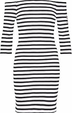 Zoe Karssen Zoe Karssen Woman Off-the-shoulder Embroidered Striped Waffle-knit Mini Dress White Size M