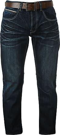 Firetrap Mens Leather Belt Straight Jeans Pants Trousers Bottoms Denims Dark Wash 34W L