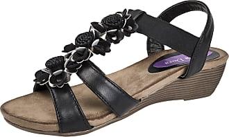 Lora Dora Womens Sandals Flower Bar Black UK 6