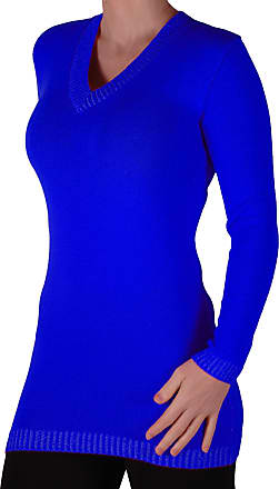 Eyecatch Gwen Womens V Neck Pullover Knitted Ladies Jumper One Size Royal Blue