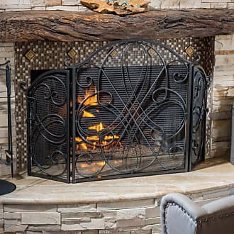 BEST SELLING HOME Oxford 3 Panel Iron Fireplace Screen Bronze - 295445