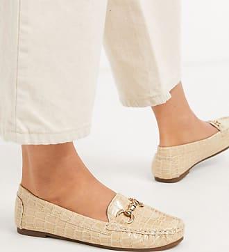 Truffle metal trim loafer in beige croc