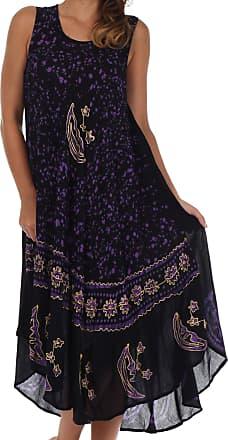 Sakkas B900 Batik Moon and Stars Caftan Tank Dress/Cover Up - Black/Purple - One Size