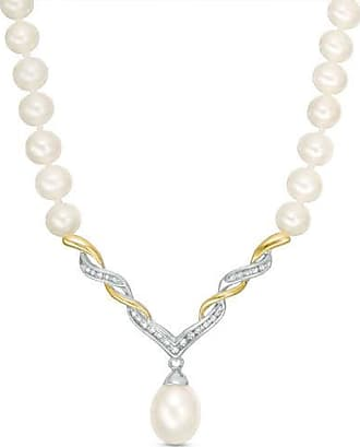 9b25cfb3c Zales Cultured Freshwater Pearl and 1/10 CT. T.w. Diamond Necklace in  Sterling Silver