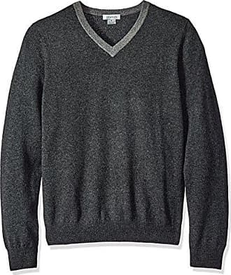 Phenix Cashmere Mens 100% V-Neck Sweater with Contrast Collar Elbow Patches, Graphite/Charcoal, Small
