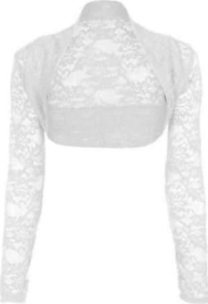 Top Fashion18 Womens Long Sleeve Lace Floral Ladies Cropped Short Shrug Bolero Cardigan Top 8-22 White