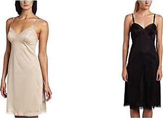 Vanity Fair Womens Rosette Lace Full Slip 10103, Damask Neutral/Midnight Black, 40 Bust (22 Length)