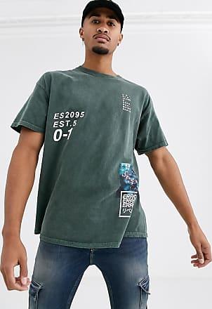 Topman T-Shirt mit Print in Khaki-Grün