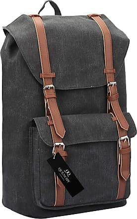 Quenchy London Canvas Backpack Casual Daypack for Girls and Women, Medium School Size A4 Bag 45cm x30x9 25 Litre QL916 (Black Jeans)