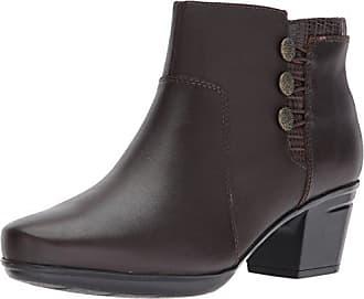 Clarks Womens Emslie Monet Ankle Bootie, Dark Brown Leather, 9 M US