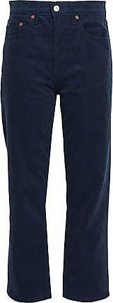 Re/Done Re/done Woman Cotton-corduroy Straight-leg Pants Navy Size 24