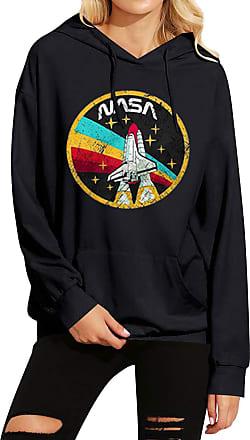 Dresswel Women NASA Hoodie Rocket Space Graphic Print Pullover Hooded Sweatshirt Jumper with Pocket Black