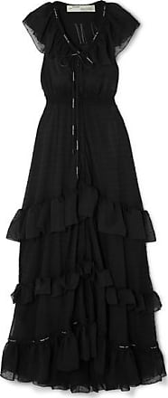 Off-white Ruffled Tiered Swiss-dot Chiffon Maxi Dress - Black