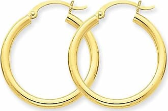 Quality Gold 14kt Yellow Gold Polished 2.5mm Lightweight Round Hoop Earrings