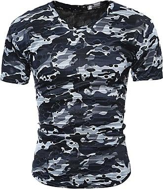 NPRADLA Shirt Fashion Personality Mens Casual Formal Shirt Slim Printed Short Sleeve T Shirt Top Blouse Grey