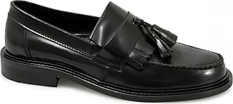 Ikon SELECTA Mens Polished Leather Tassel Loafers Black UK 7