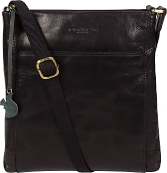Pure Luxuries London Conkca London Dink Womens 26cm Biodegradable Leather Cross Body Bag with Zip Over Top, 100% Cotton Lining and Adjustable Slimline Leather Strap in Nav