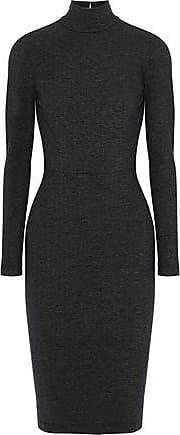 Fleur du Mal Fleur Du Mal Woman Open-back Cutout Stretch-knit Turtleneck Dress Dark Gray Size L