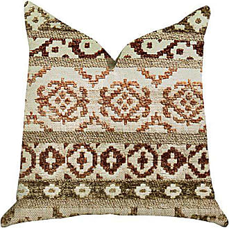 Plutus Brands Arabesque Shades Double Sided Luxury Throw Pillow 26 x 26 Tan/Red/Green