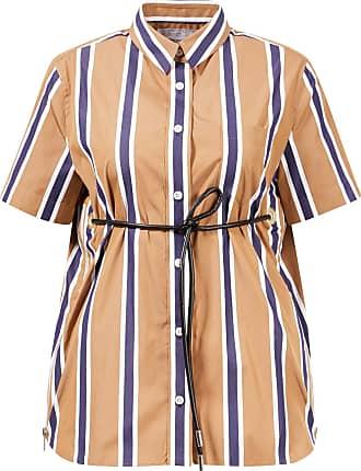 sacai Baumwoll-Popeline Hemd mit Ledergürtel Beige/Multi