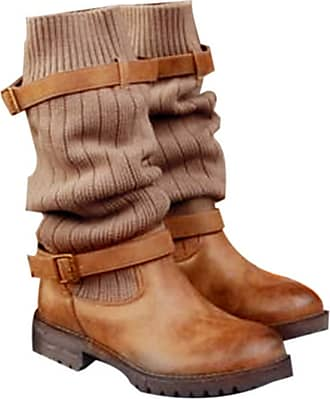 NOADream Women Low Heels Sock Boots Flat Stylish Sexy Stretch Boots Trekking Hiking Casual Slouch Booties Combat Biker Mid-Calf Boot Brown