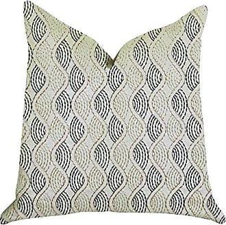 Plutus Brands Enigma Twist Double Sided Standard Luxury Throw Pillow 20 x 26 Blue/Beige